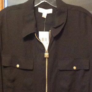 Michael Kors Roll Tab Dog Tag Shirt ( Black )